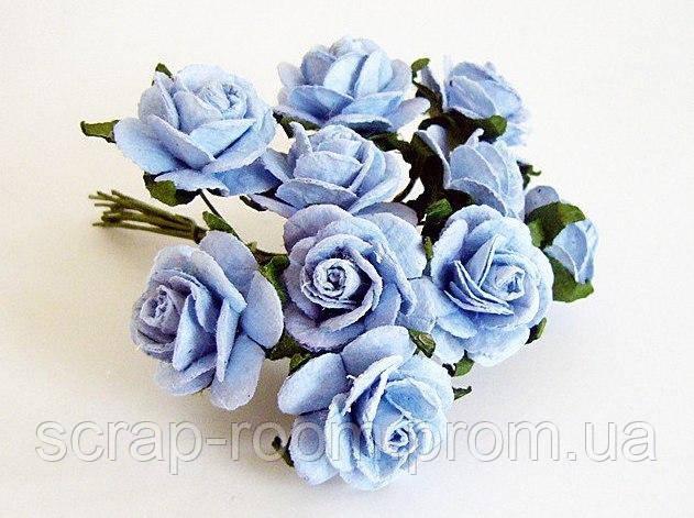 Роза мини голубая диаметр 1,5 см, роза голубая, бумажная роза голубая 1,5 см, бумажная, цена за 1 шт