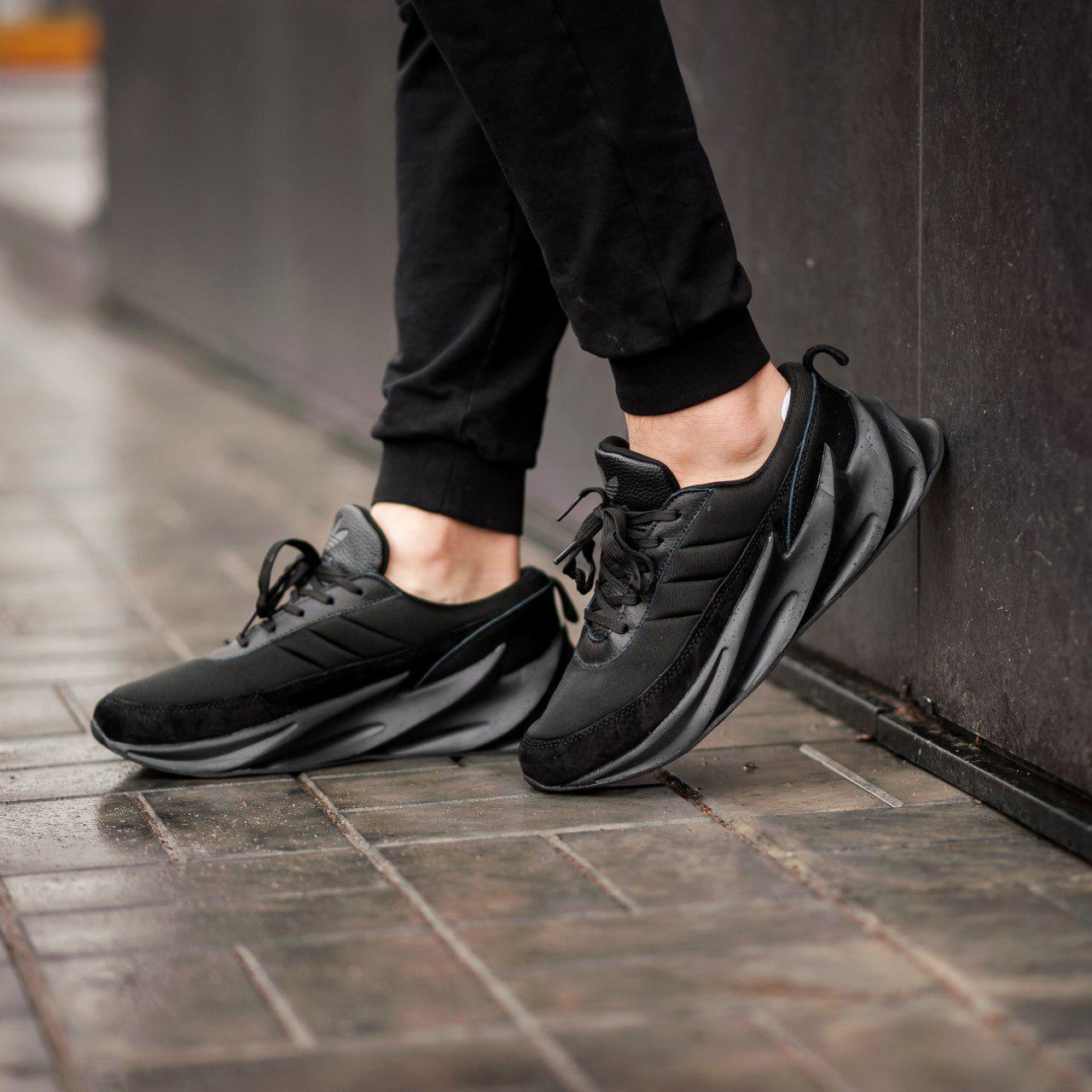 Мужские кроссовки Adidas Sharks Black (Реплика ААА+)