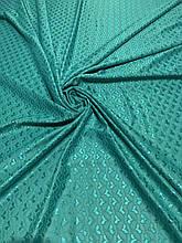 Ткань одёжная жаккард с гипюром сердечки зелёный
