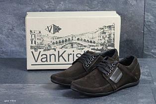 Чоловічі туфлі замшеві VanKristi Black,коричневі