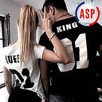 Футболки именные парные с номерами фамилиями имена надписями king queen для влюбленных