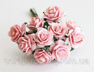 Роза мини розово-персиковая диаметр 1,5 см, роза розовая, бумажная роза персиковая 1,5 см, цена за 1 шт