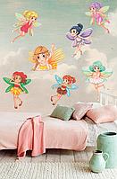 Виниловая наклейка в детскую комнату набор Маленькие феи (самоклеющаяся пленка, декор детской)