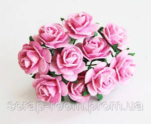 Роза мини розовая диаметр 1,5 см, роза розовая, бумажная роза розовая 1,5 см, роза Таиланд, цена за 1 шт