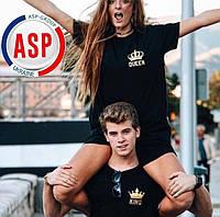 Футболки парные для влюбленных кинг квин king queen королей и принцесс печать под заказ