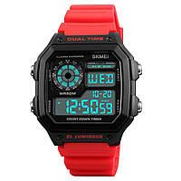 ★Часы SKMEI 1299 Red светодиодные электронные цифровой дисплей календарь стальной корпус дюралюминий