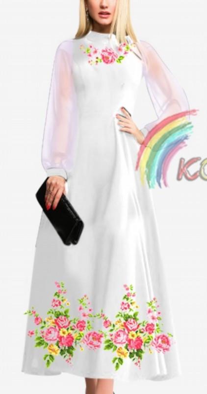ПЖ-002 Платье с шифоновыми рукавами