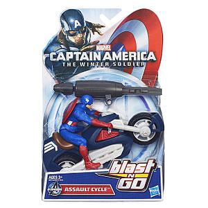 Ігровий набір 2в1 Капітан Америка і мотоцикл - Captain America, Assault Cycle, Blast & Go, Hasbro