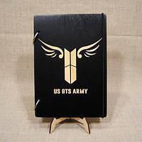 Скетчбук BTS army. Блокнот с деревянной обложкой.