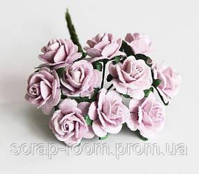 Роза мини сиреневая диаметр 1,5 см, роза сиреневая, бумажная роза фиолетовая, роза Таиланд, цена за 1 шт