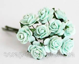 Роза мини мятная диаметр 1,5 см, роза мятная, бумажная роза мятная 1,5 см, роза Таиланд, цена за шт, роза 1.5