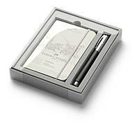 Подарочный набор Faber-Castell Ambition Black Resin, ручка роллер + блокнот, 149624