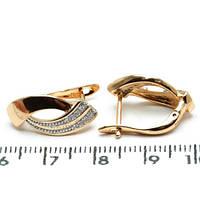 Серьги Xuping длина 1.9см медицинское золото позолота 18К с1074