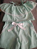 Летний костюм для девочки майка и шорты.