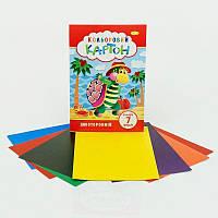 Картон цветной 7 листов А4 КДК-А4-7 (30) двухсторонний