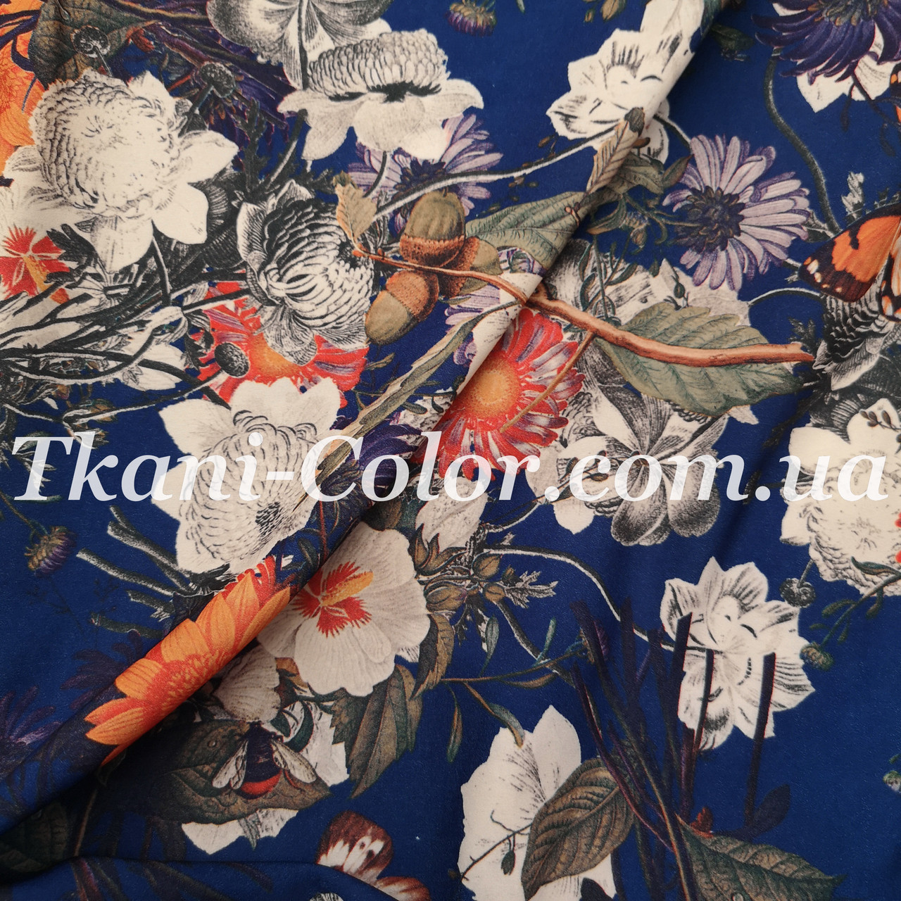 Ткань супер софт цветы на синем TF-08