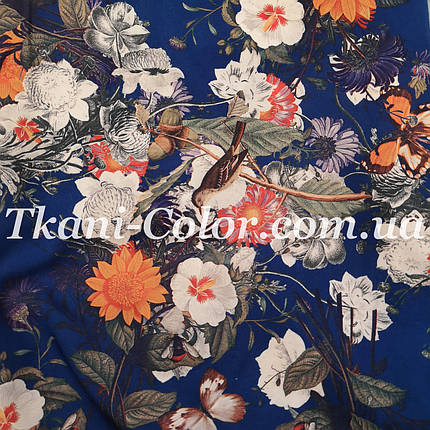 Ткань супер софт цветы на синем TF-08, фото 2