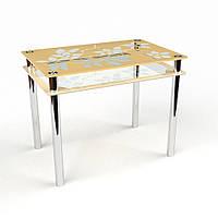 """Стеклянный обеденный стол """"Цветы-рамка"""" БЦ-Стол, фото 1"""