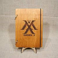 Скетчбук Monsta X. Блокнот с деревянной обложкой.