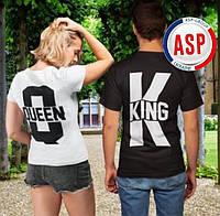 Футболки парные King Queen король и королева с коронами для влюбленных пар