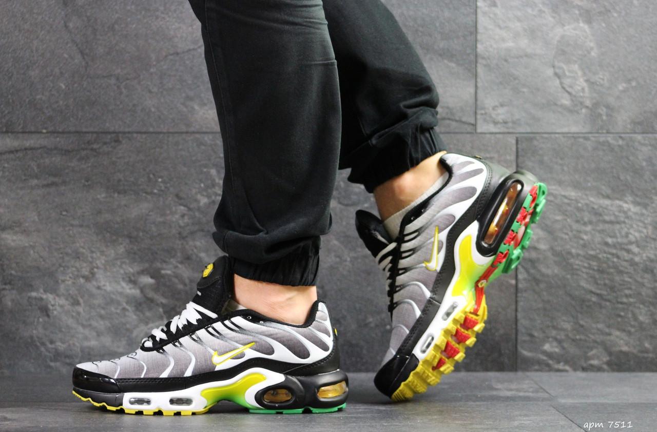Кроссовки мужские Nike air max TN, серые с желтым