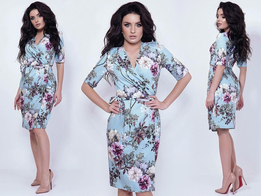 """Стильное женское платье средней длины 5613 """"Барби Цветы Запах"""" в расцветках"""