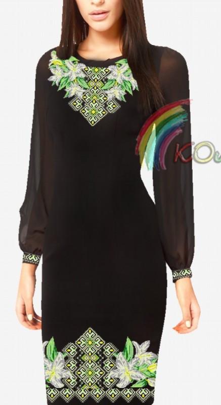 ПЖ-016 Сукня з шифоновими рукавами