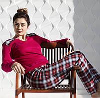 """Пижама женская  с длинными рукавами из трикотажного полотна """"интерлок"""" с вышивкой """"веселая собака"""""""