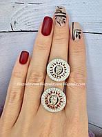 Серебряное кольцо с золотыми накладками , фото 1
