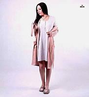 80e4313382aaf Комплект женский велюровый халат на запах с ночной