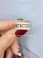 Обручальное кольцо из серебра с накладками золота, фото 1