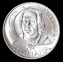 Серебряная монета Италии 500 лир 1992 г