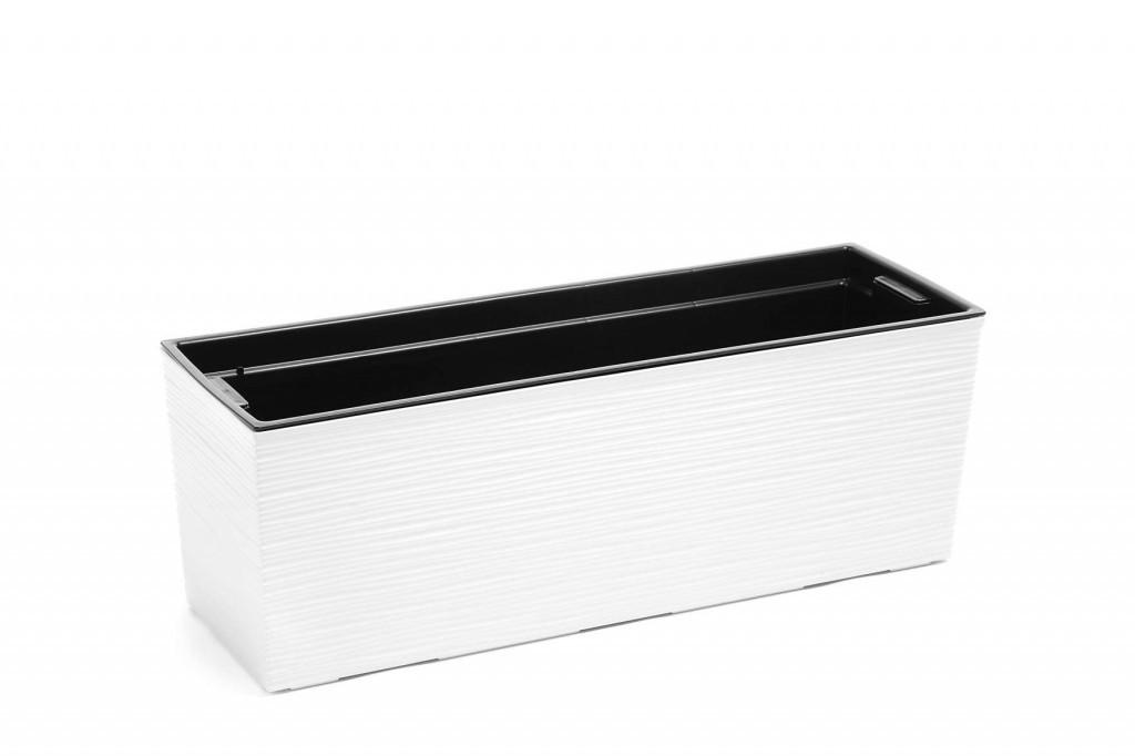 Кашпо пластикове ящик прямокутний квітник ДОЛОТО Бегонія (Білий)