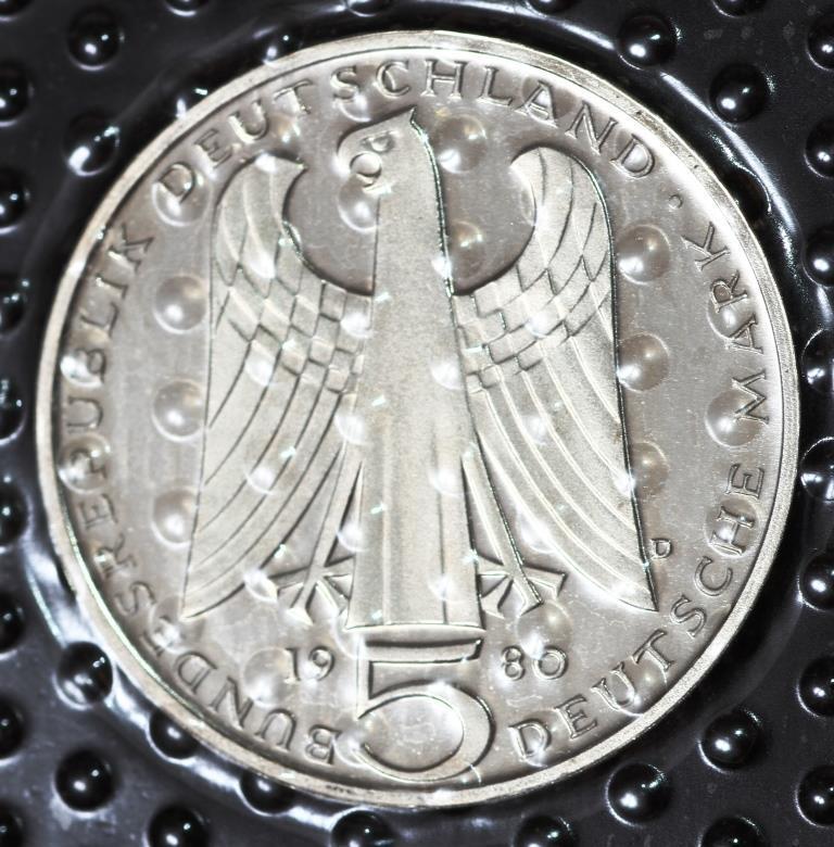 Монета Германии 5 марок 1980 г.