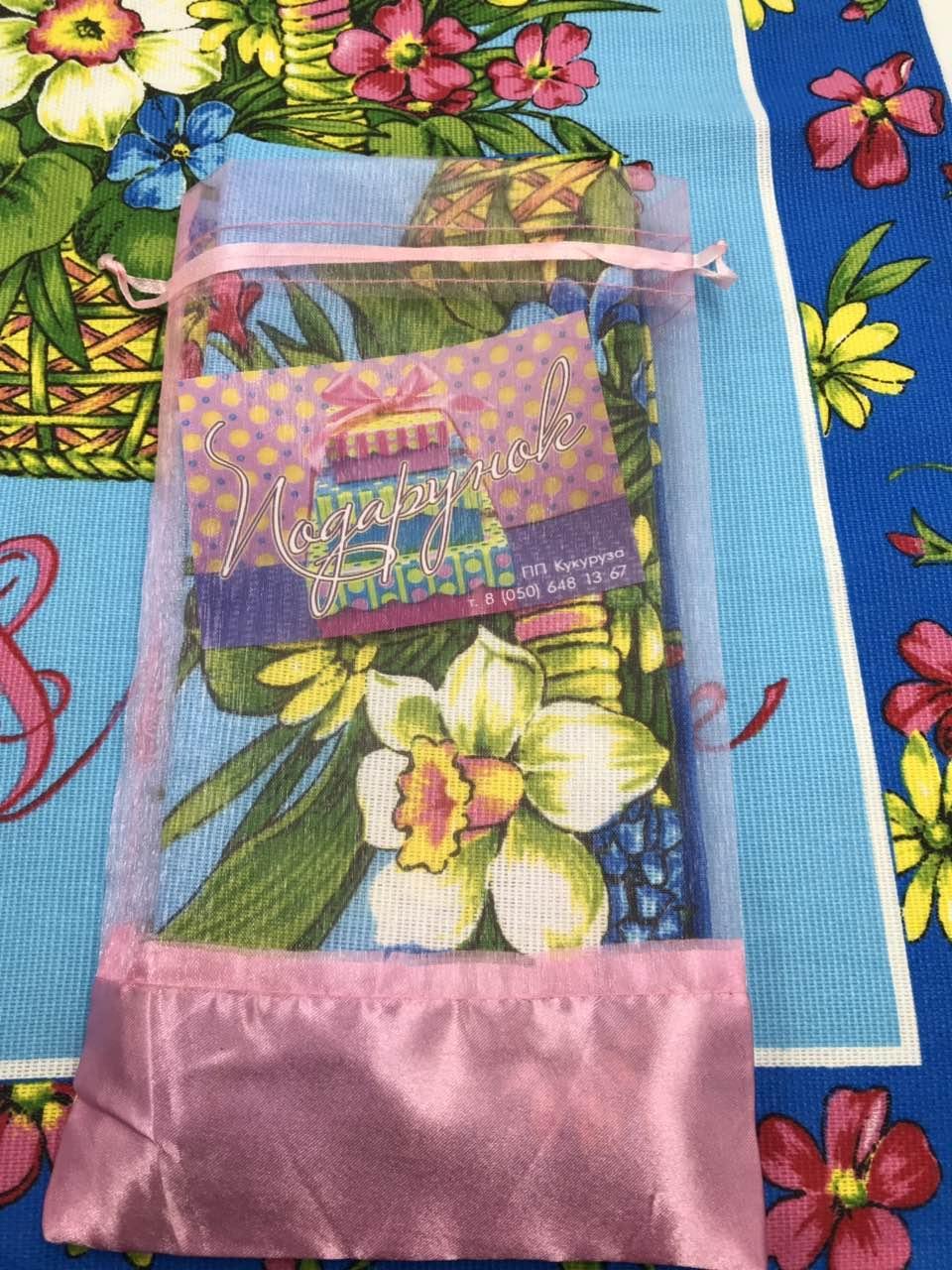 """Полотенце льняное """"Цветы"""" в подарочной упаковке"""