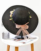 Женская летняя соломенная пляжная широкополая шляпа с цветами черного цвета