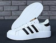 """Кроссовки женские кожаные Adidas SUPERSTAR white/blac """"Белые"""" р. 36-40, фото 1"""
