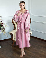 """Сукня вишита на льоні """"Лілея рожева"""" розмір, фото 1"""