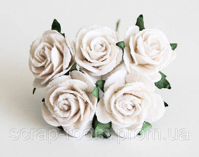 Роза бумажная белая диаметр 2,5 см, роза белая Таиланд, бумажная роза белая 2,5 см, цена указана за 1 шт