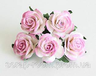 Роза бумажная розово-белая диаметр 2,5 см, роза розовая, бумажная роза бело-розовая 2,5 см, цена за 1 шт
