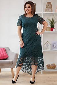 Изумрудное гипюровое платье больших размеров (50-56)
