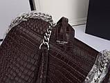 Сумка, клатч Sunset Ив Сен Лоран рептилия, натуральная кожа, цвет марсала с серебром, фото 9