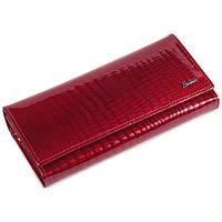 Изящный женский кожаный кошелек красного цвета с лакированным покрытием AL-AE150-RED
