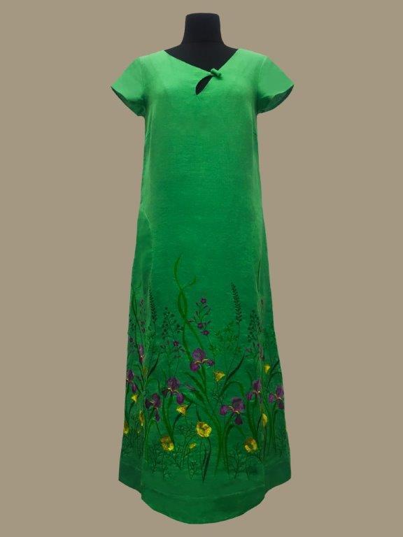 Галерея льону / АКЦІЯ повний розпродаж!!! ЛІТО-2020. Сукня Мирослава світло-зелена 48