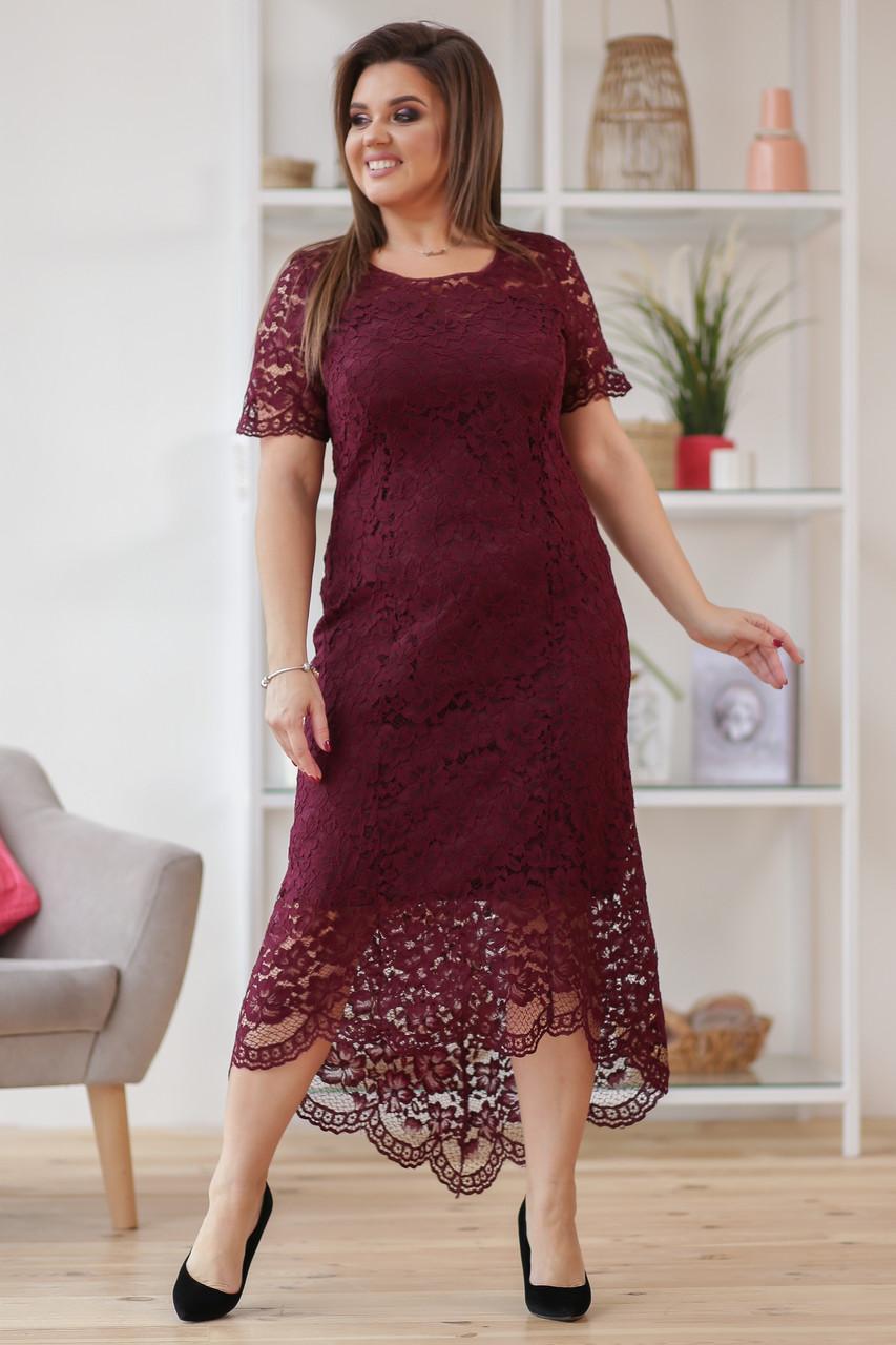 Бордовое гипюровое платье больших размеров (50-56)