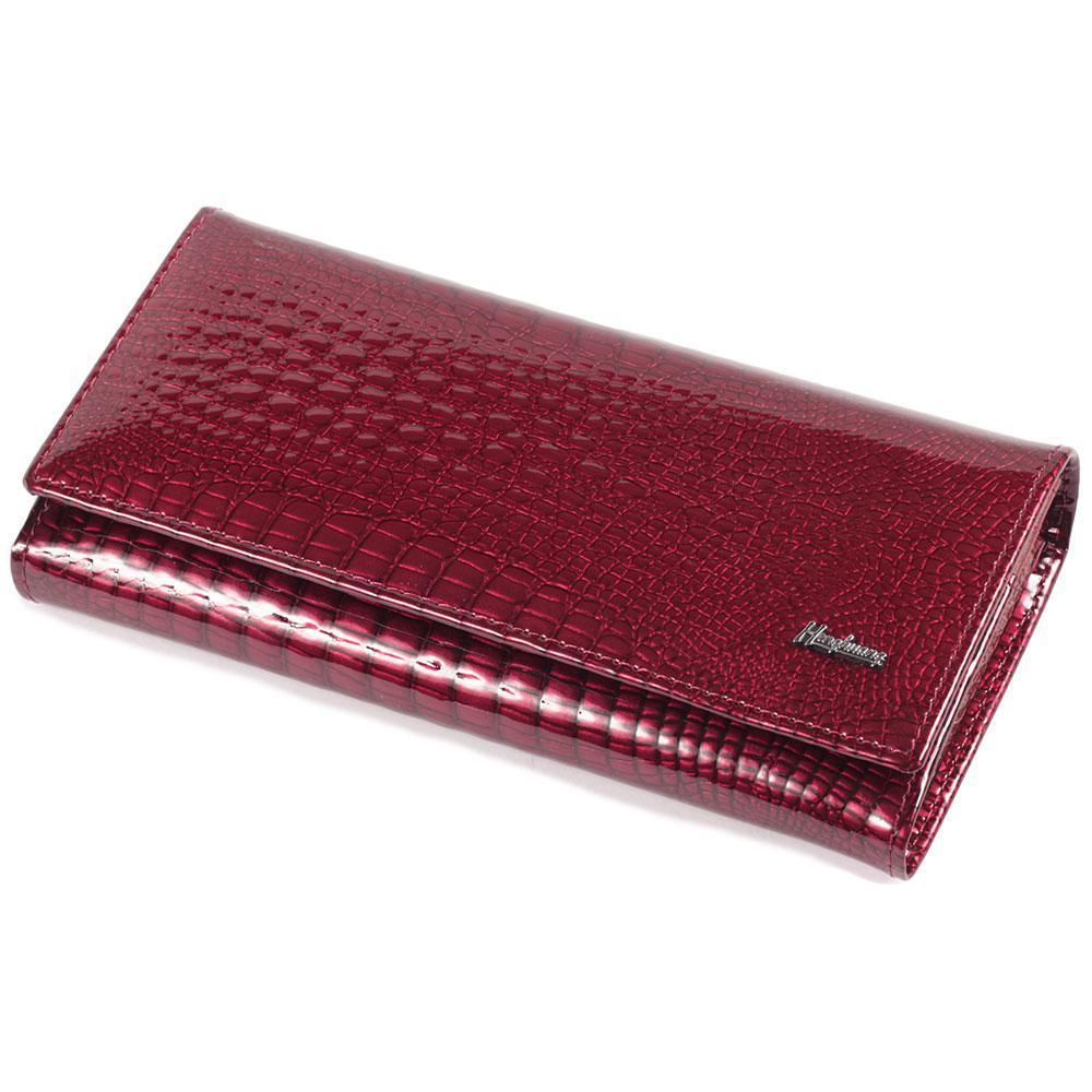 Шикарный женский кожаный кошелек с лакированным покрытием и принтом под рептилию красный AL-AE501-JR