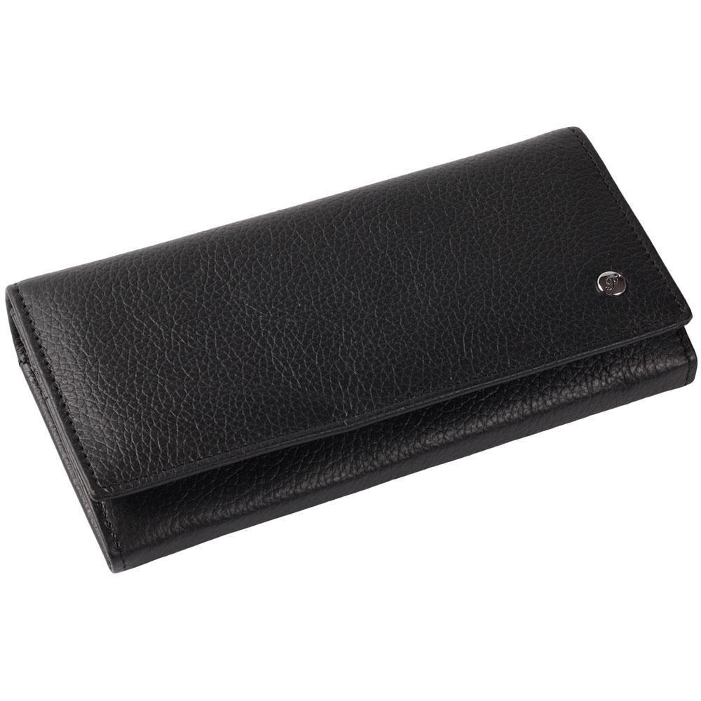 Женский кошелек из натуральной кожи черный AL634-1-BL