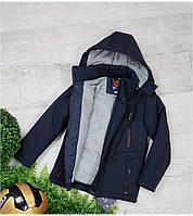 Куртка с наушниками весна-осень А 108, размеры 128-152  (7-12 лет), синий, фото 1