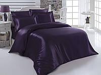 Комплект постельного белья атласный Темно-фиолетовый
