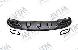 Диффузор накладки на задний бампер Hyundai Accent (2011-2017) (обманки черные) заднего бампера Хюндай